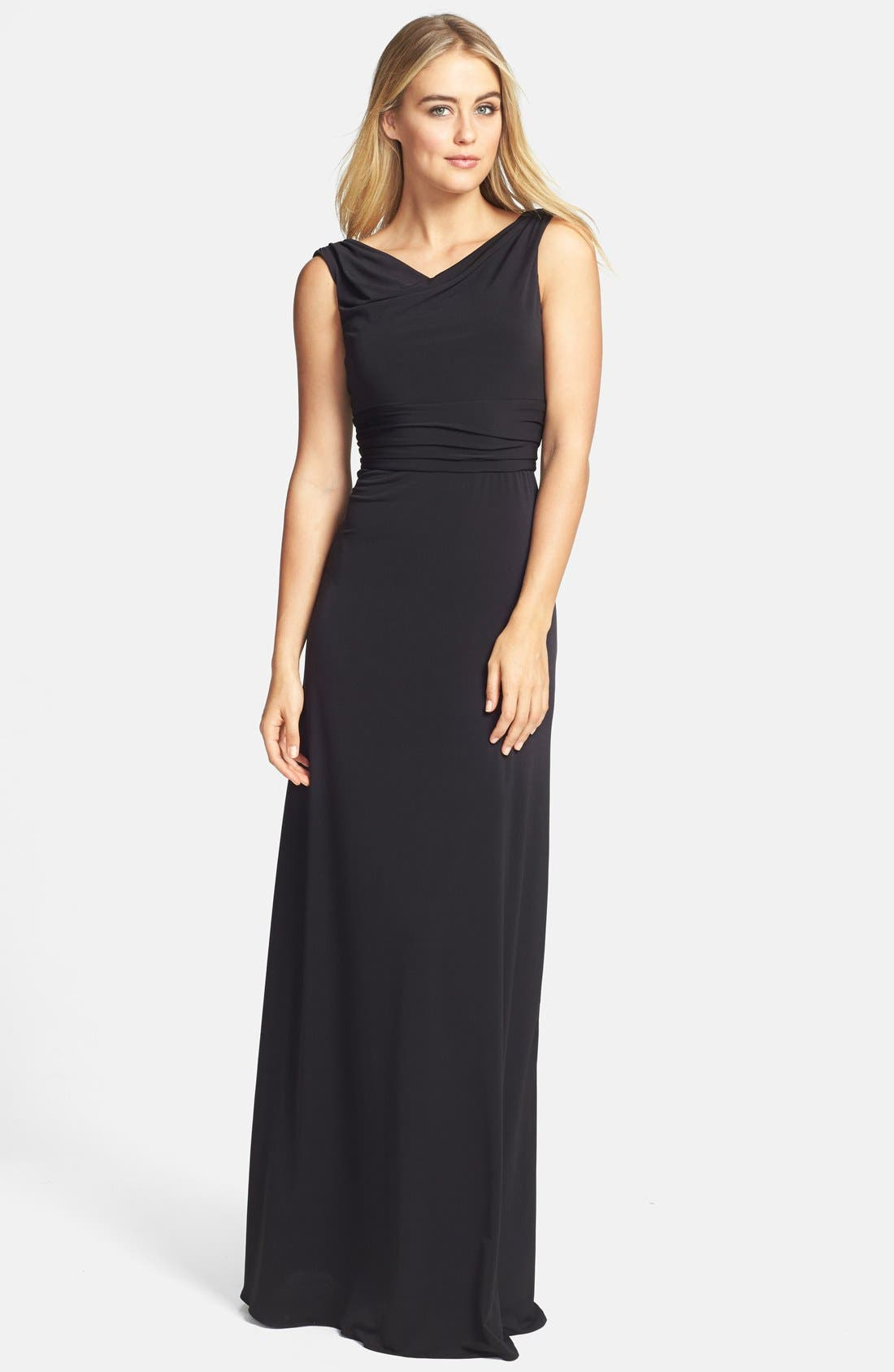 Alternate Image 1 Selected - Amsale Draped Neck Jersey Gown