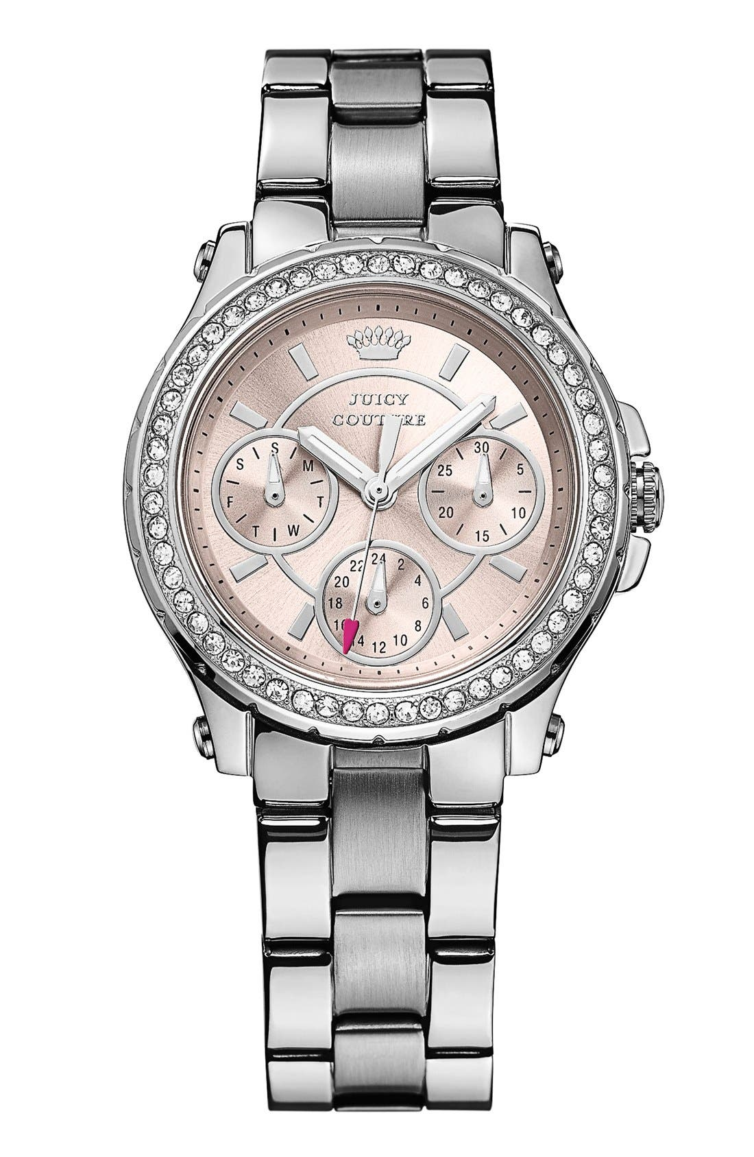 Main Image - Juicy Couture 'Pedigree' Crystal Bezel Bracelet Watch, 32mm