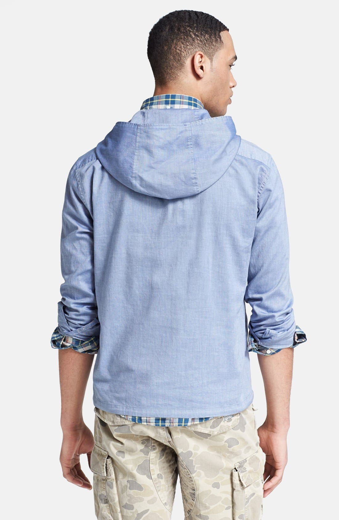 Alternate Image 2  - Gant by Michael Bastian Chest Stripe Hooded Pullover Shirt