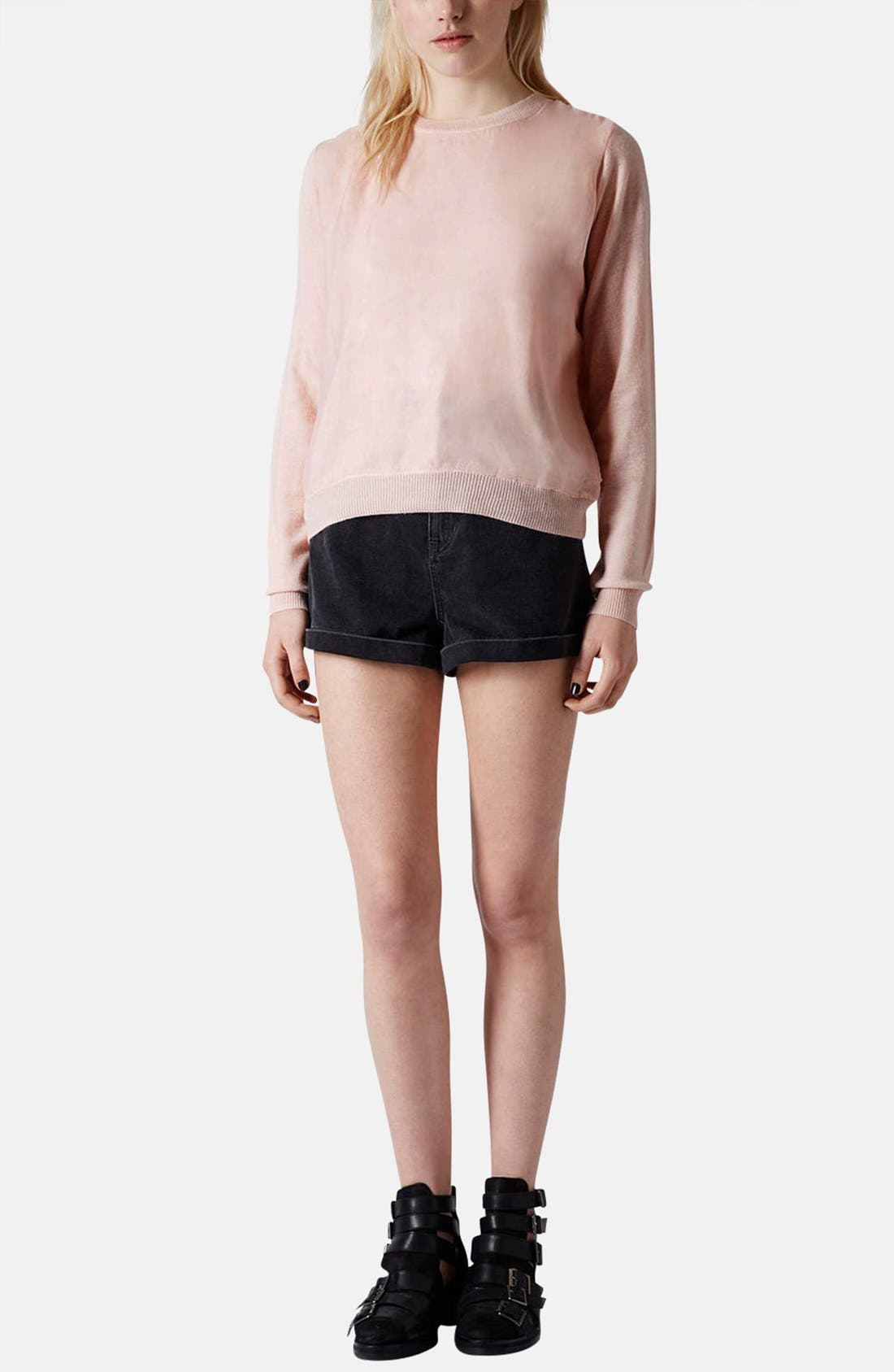 Alternate Image 5  - Topshop Organza Overlay Knit Sweater