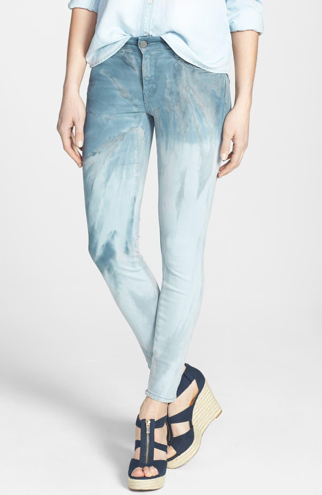 Main Image - CJ by Cookie Johnson 'Wisdom' Ombré Tie Dye Ankle Skinny Jeans (Ocean)