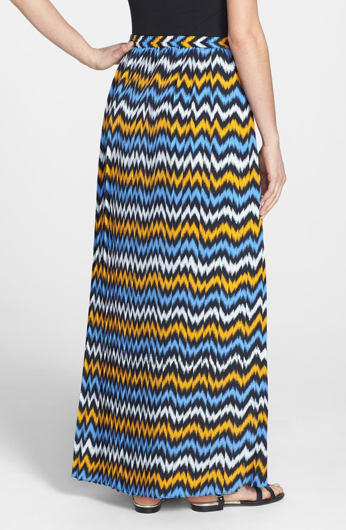 Alternate Image 2  - MICHAEL Michael Kors Ikat Print Pleat Maxi Skirt (Regular & Petite)
