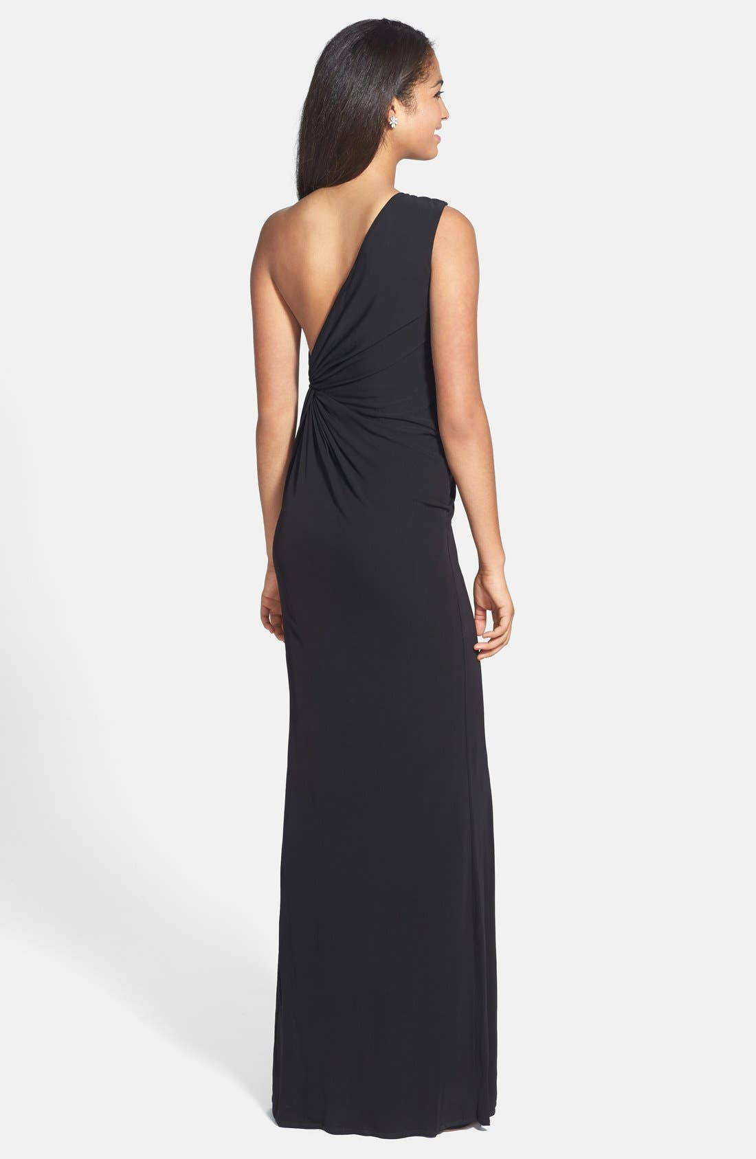 Alternate Image 2  - Laundry by Shelli Segal Embellished One-Shoulder Jersey Gown