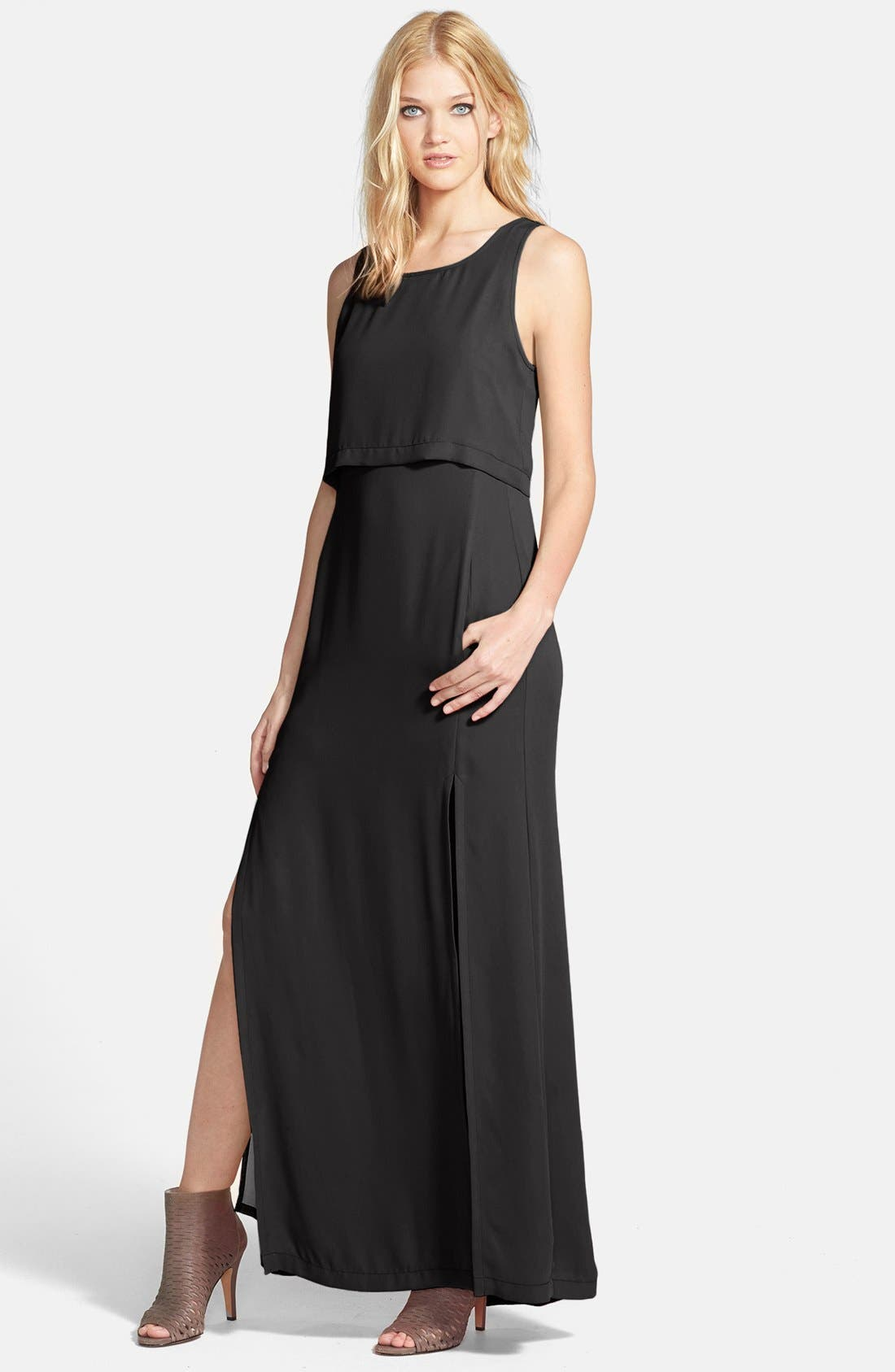 Tiered Bodice Woven Maxi Dress,                         Main,                         color, Black