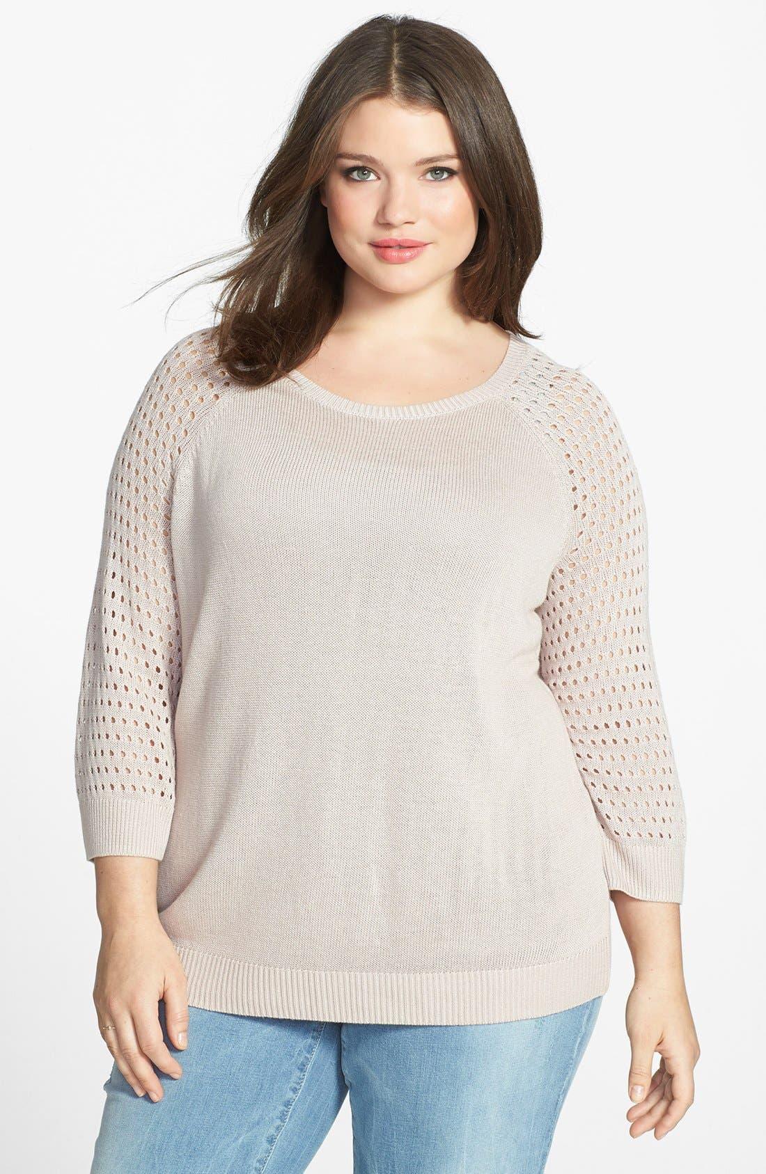 Main Image - Halogen® Open Stitch Sleeve Sweater (Plus Size)
