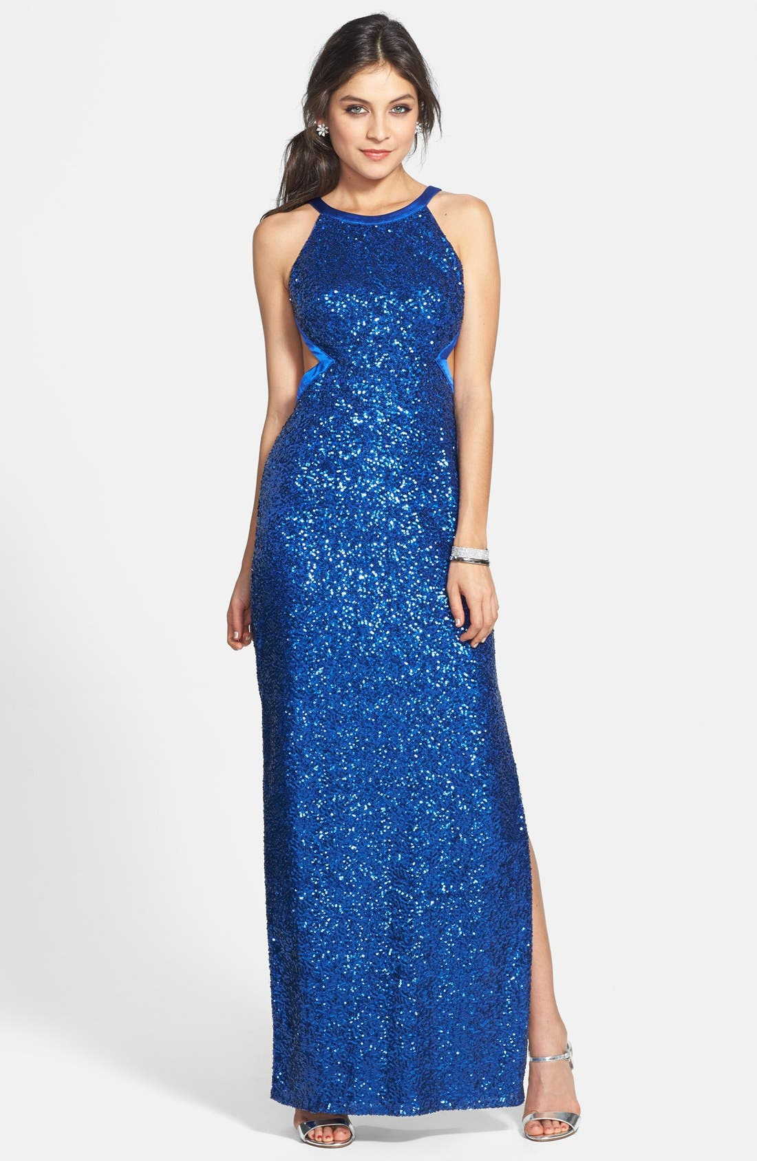 Alternate Image 1 Selected - Aidan by Aidan Mattox Sequin Open Back Gown