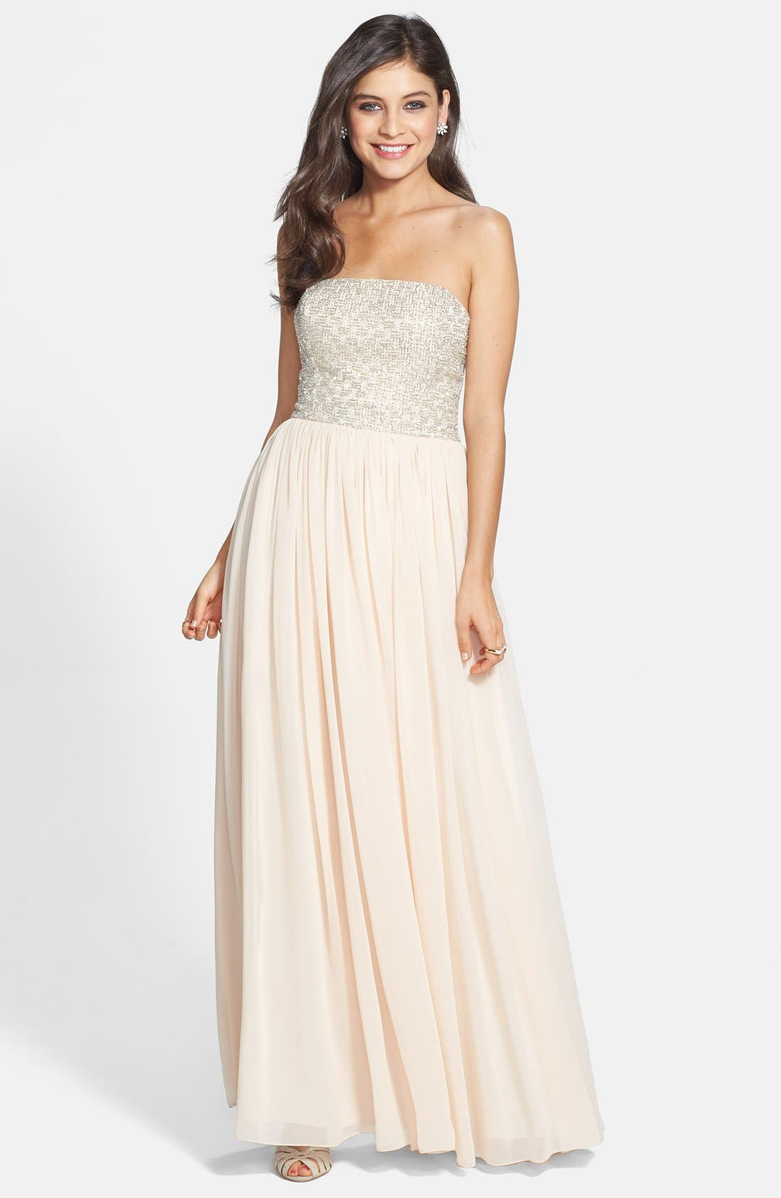 Alternate Image 1 Selected - Aidan Maddox Beaded Bodice Strapless Gown