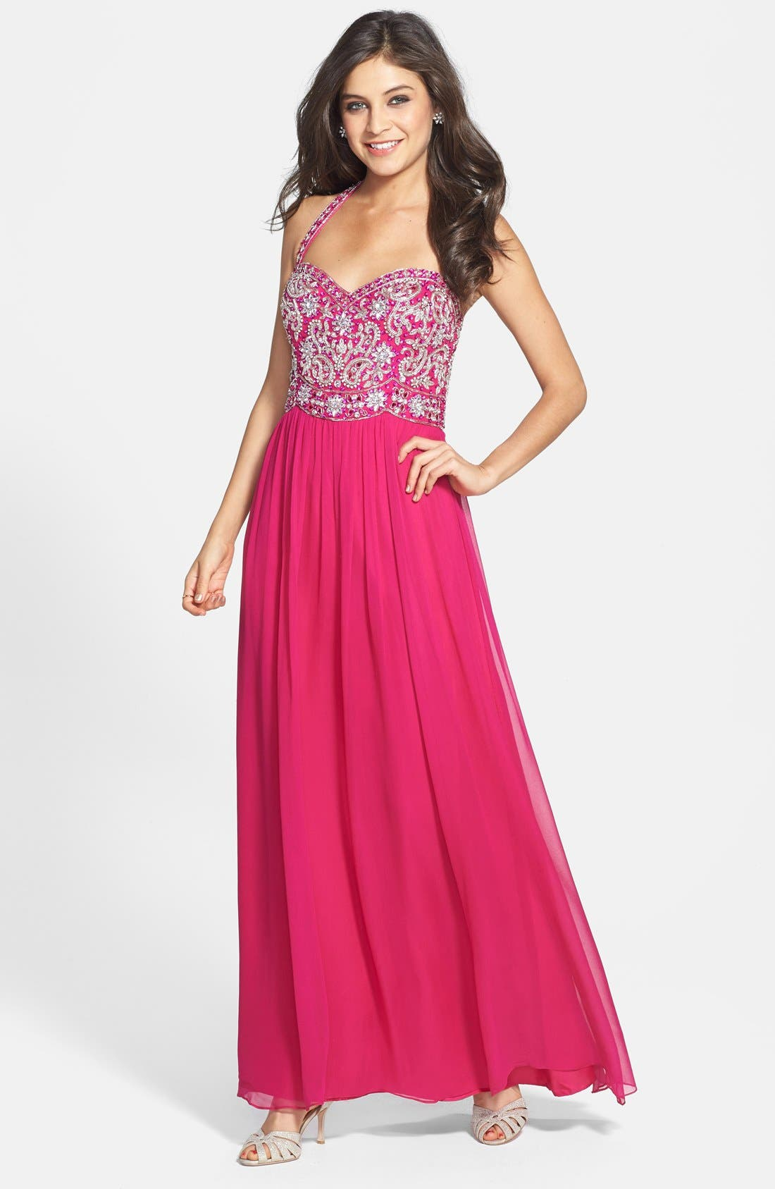 Main Image - Sean Collection Beaded Bodice Chiffon Halter Gown