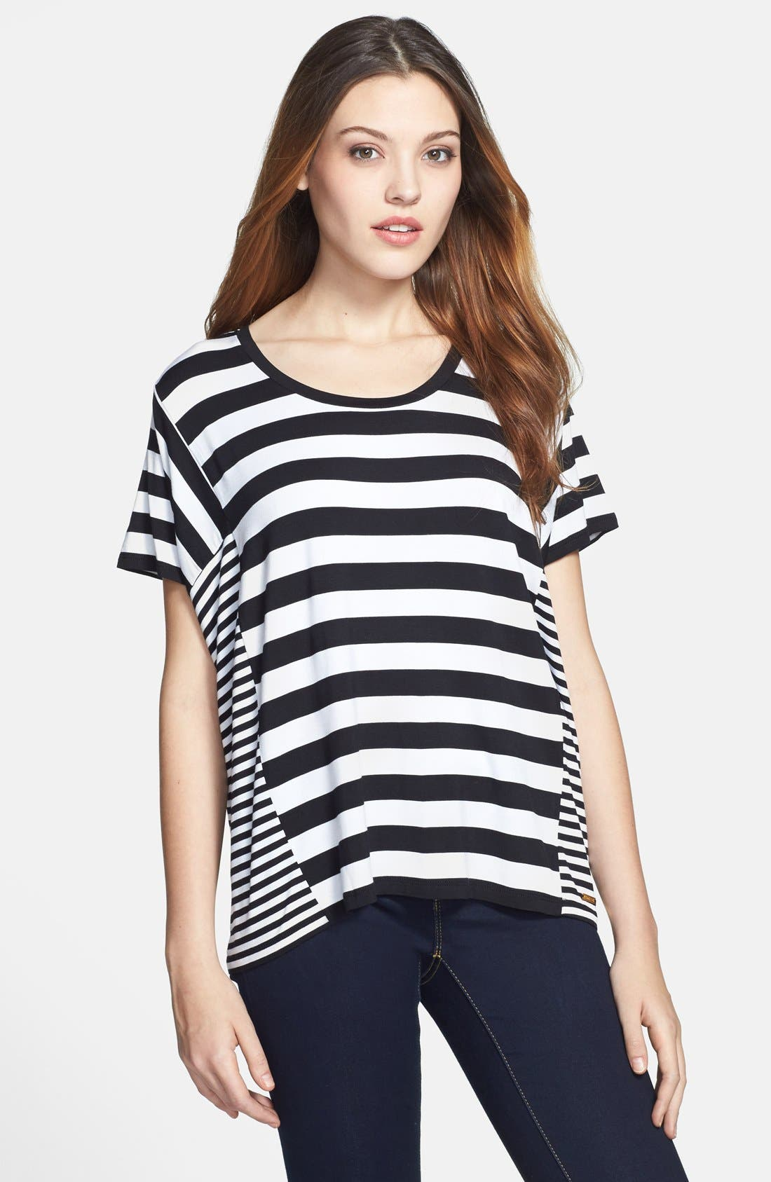 Alternate Image 1 Selected - MICHAEL Michael Kors Stripe Panel Tee