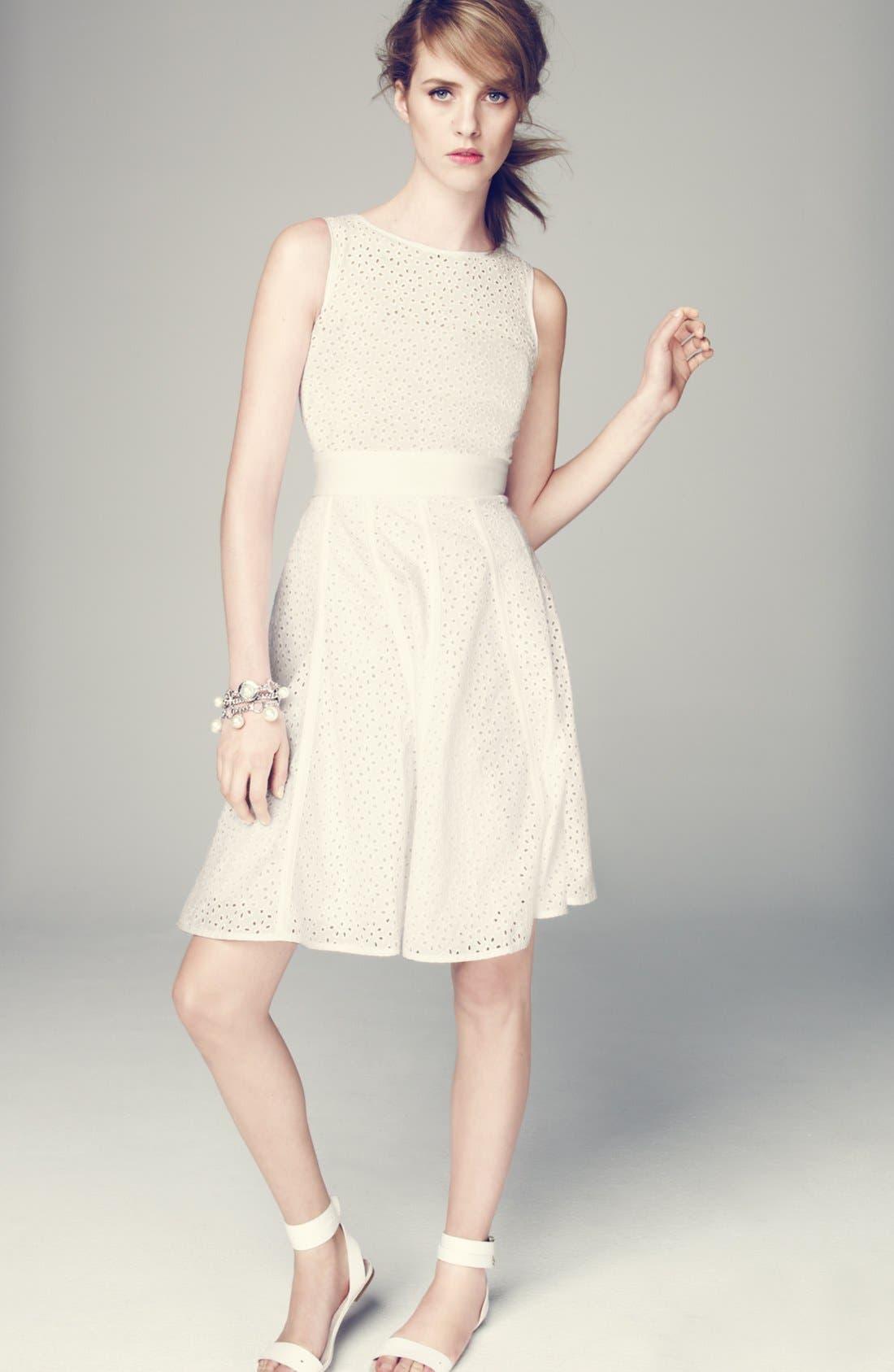 Alternate Image 6  - Eliza J Eyelet Fit & Flare Dress
