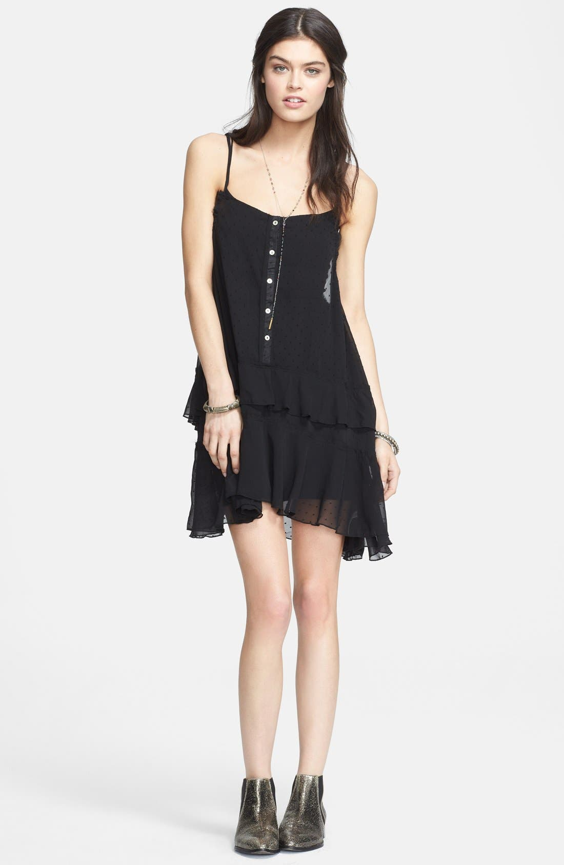 Tiered Polka Dot Slipdress,                         Main,                         color, Black Combo