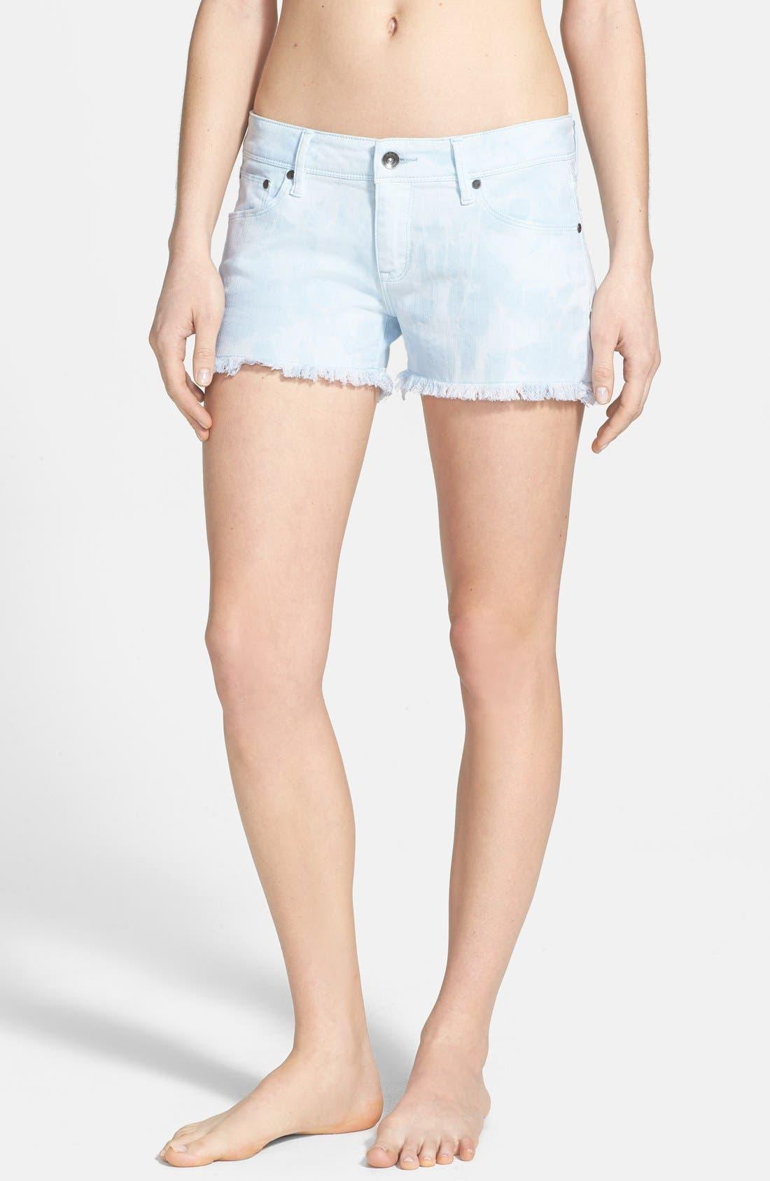 Main Image - Roxy 'Lovin' Tie Dye Cutoff Denim Shorts