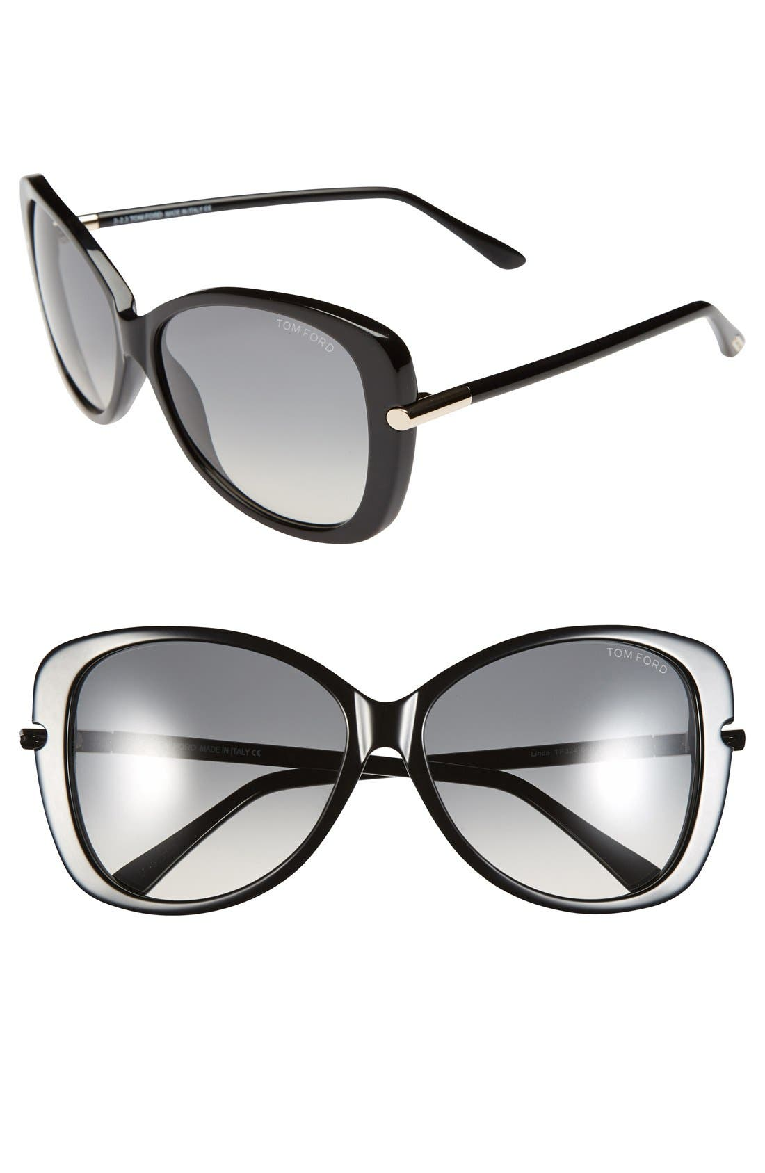'Linda' 59mm Sunglasses,                             Main thumbnail 1, color,                             Shiny Black