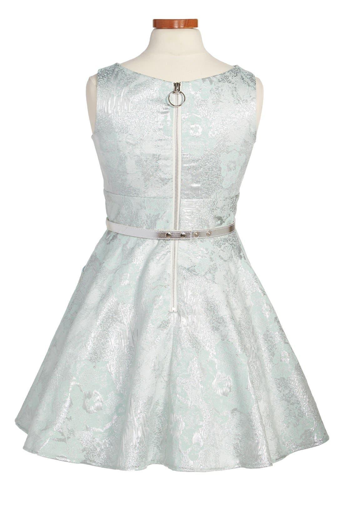 Alternate Image 2  - Zoe Ltd Metallic Brocade Sleeveless Dress (Big Girls)