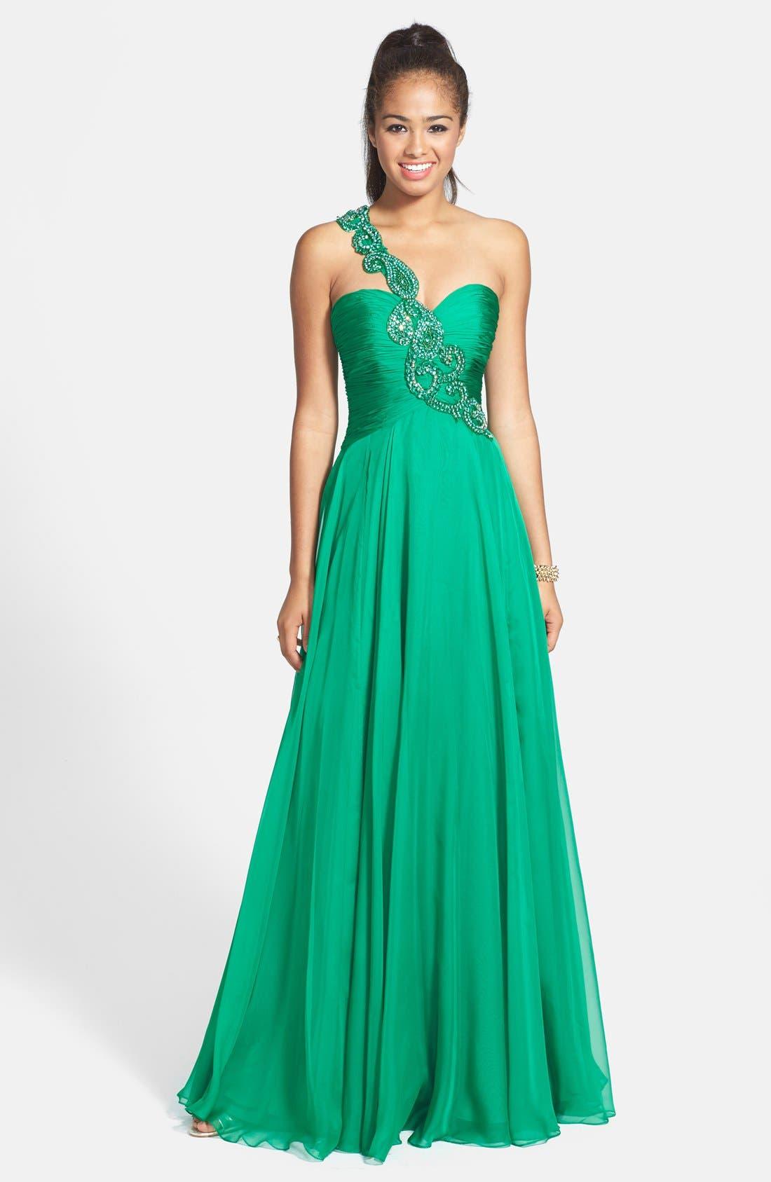 Alternate Image 1 Selected - Sherri Hill One Shoulder Embellished Chiffon Gown