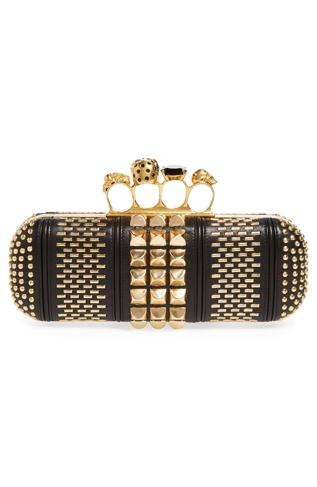 Alternate Image 4  - Alexander McQueen Knuckle Clasp Graphic Studded Box Clutch