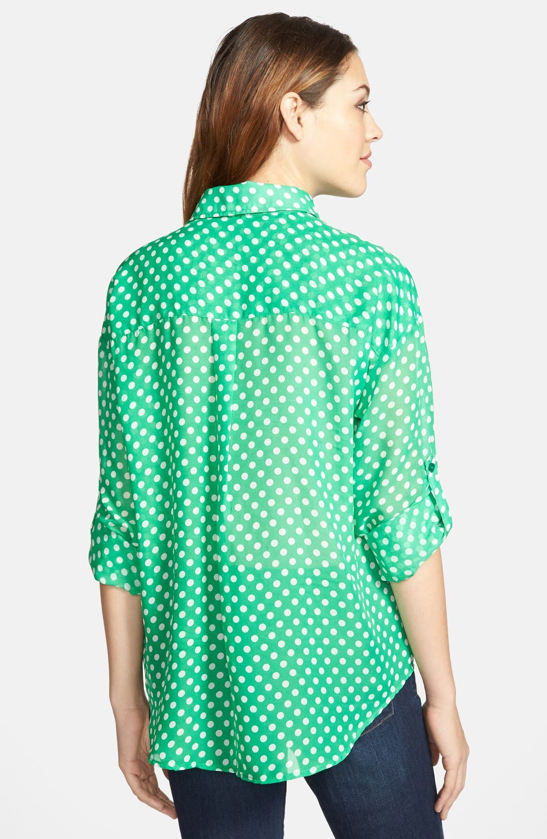 Alternate Image 2  - KUT from the Kloth Polka Dot Roll Sleeve Blouse