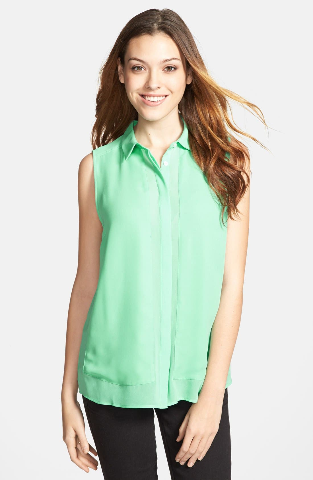 Alternate Image 1 Selected - Halogen® Sheer Inset Sleeveless Blouse