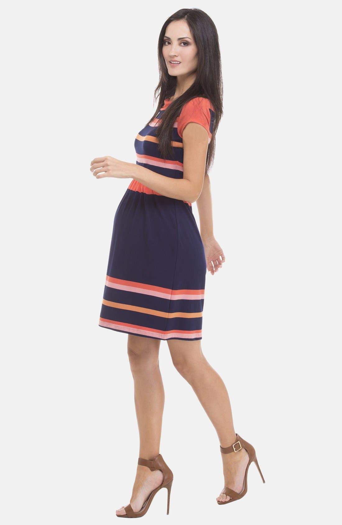 Alternate Image 3  - Olian Stripe Boatneck Maternity Dress