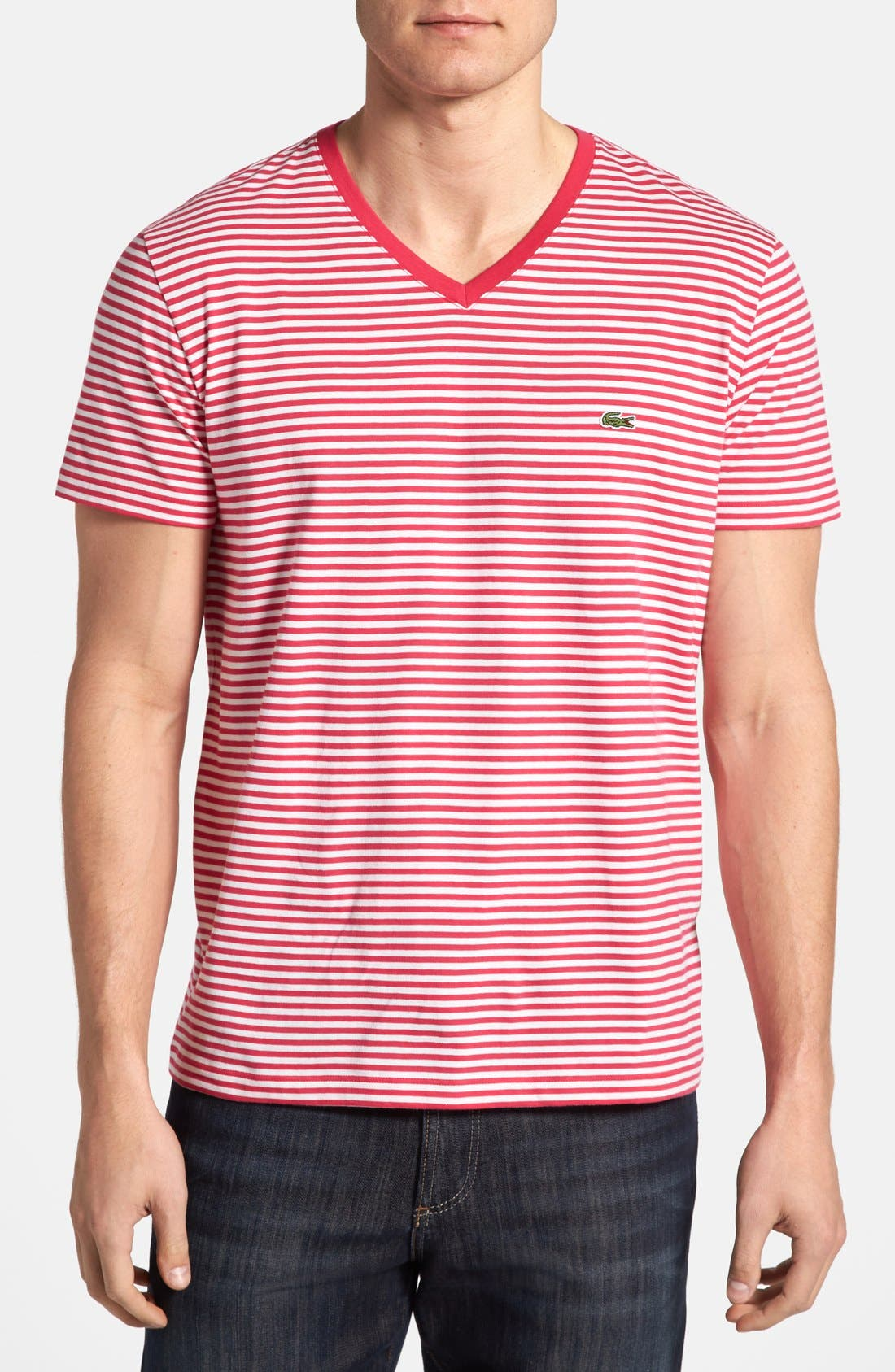 Main Image - Lacoste Heritage Fit Stripe Jersey V-Neck T-Shirt