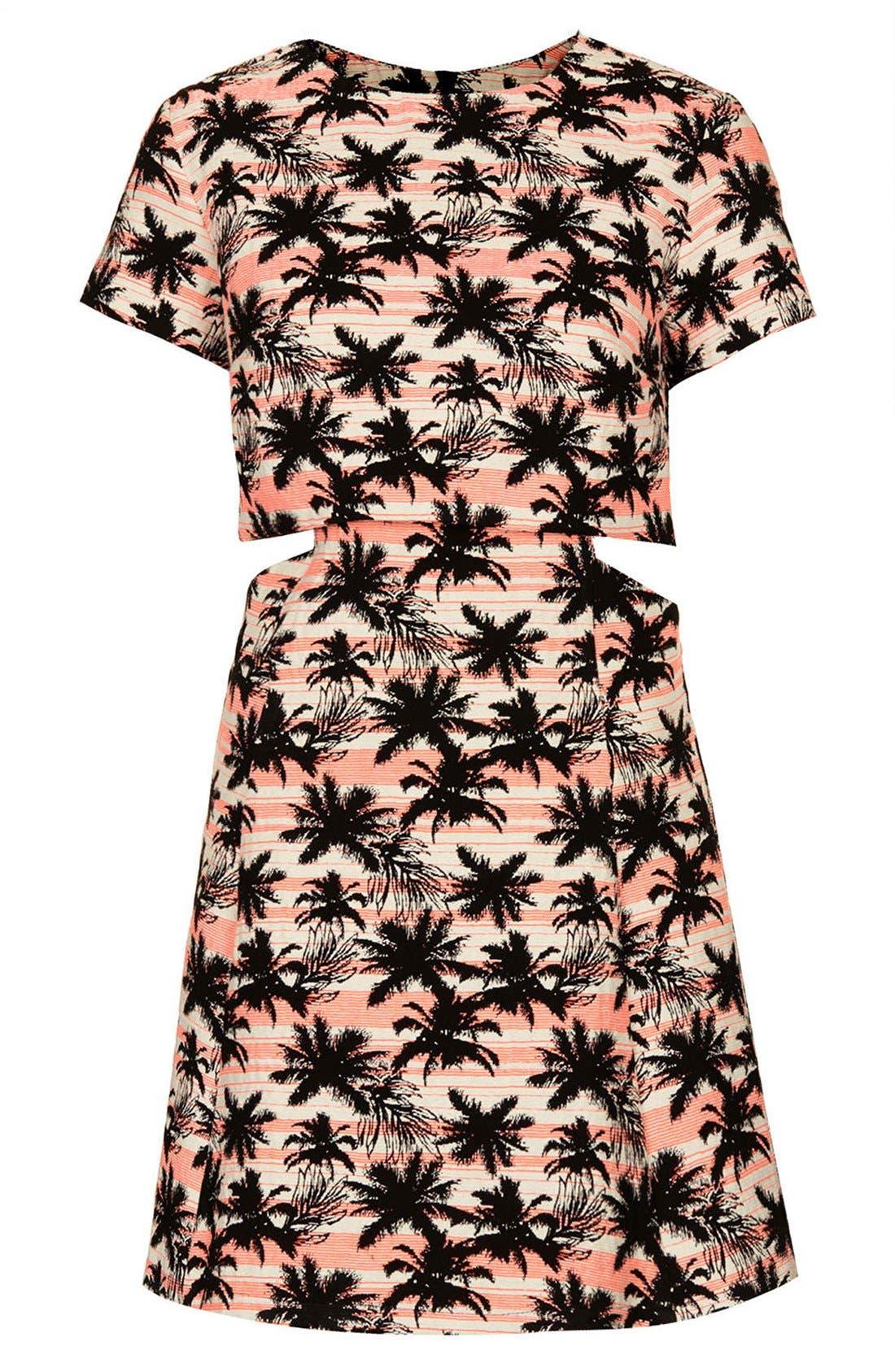 Alternate Image 3  - Topshop Cutout Palm Jacquard Skater Dress