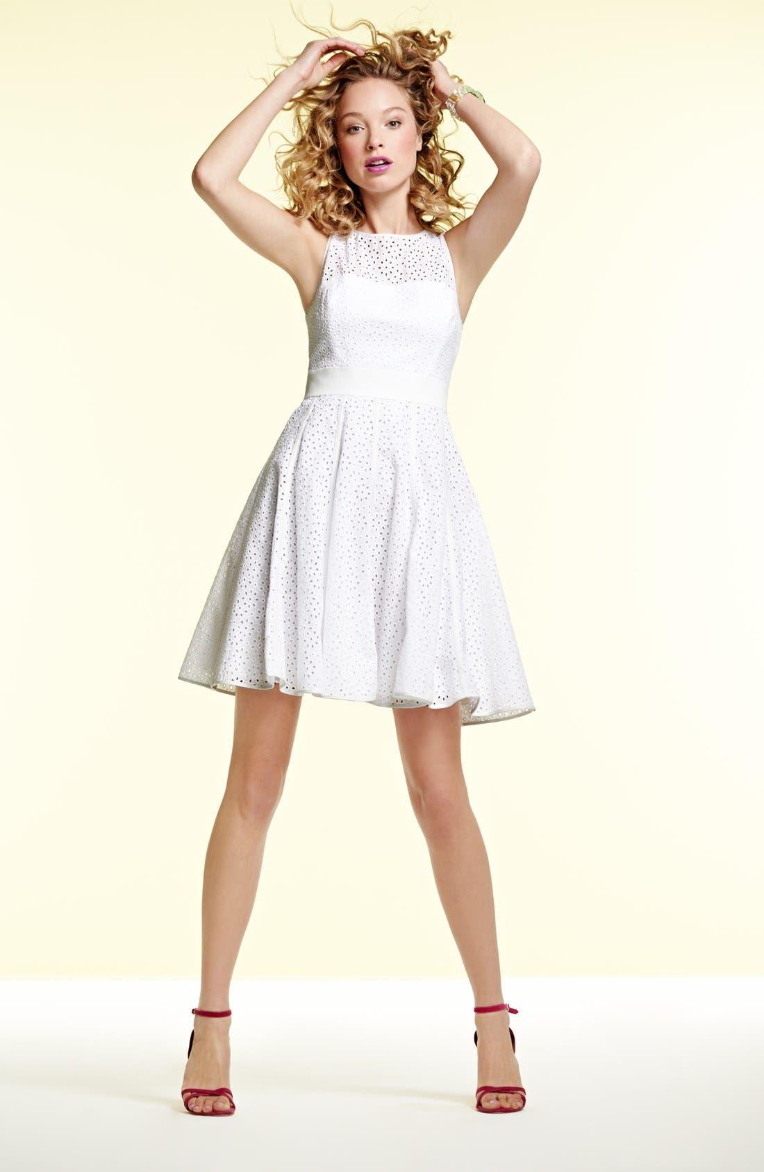 Alternate Image 5  - Eliza J Eyelet Fit & Flare Dress