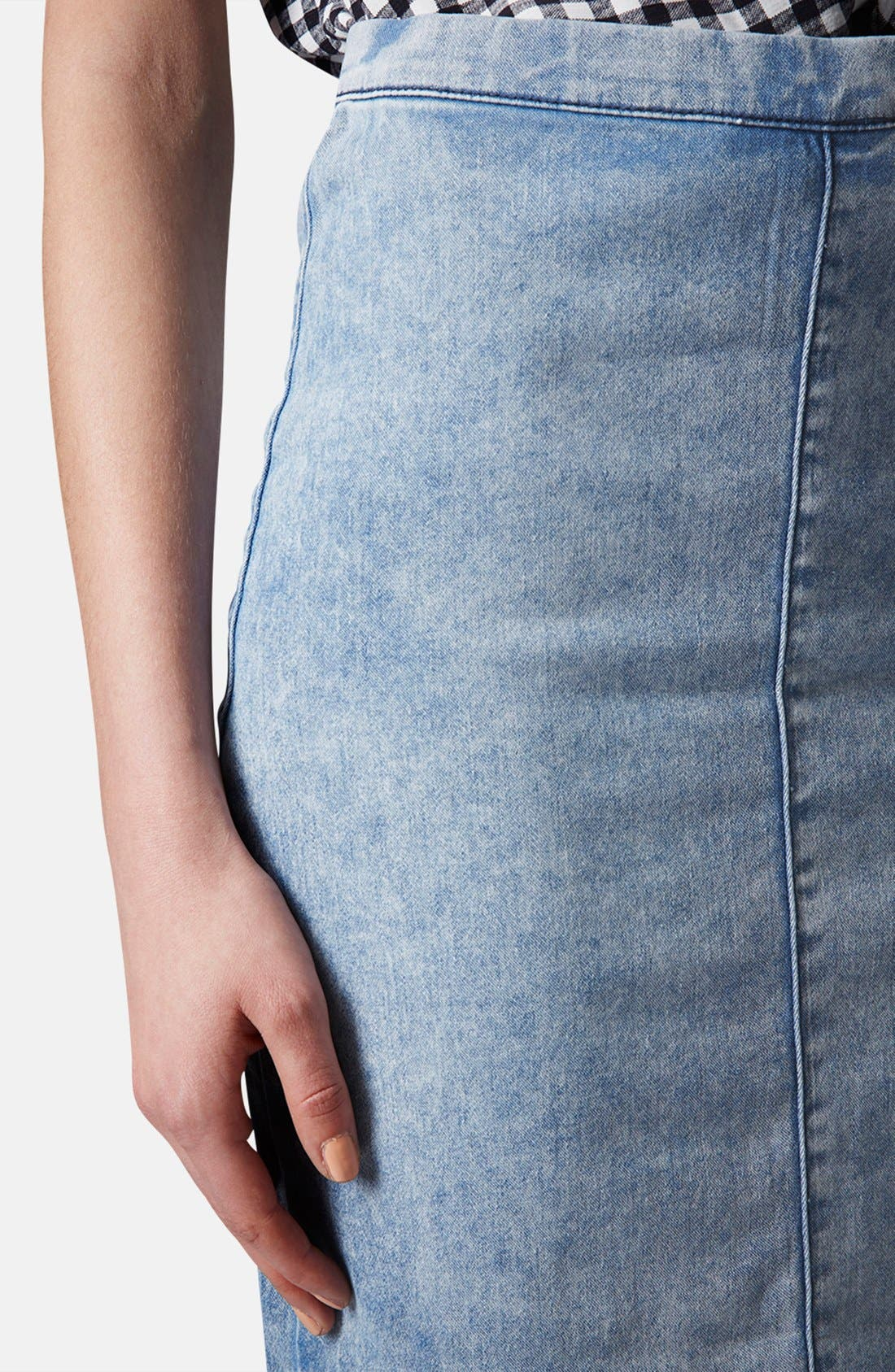 Alternate Image 4  - Topshop Moto Acid Wash Denim Pencil Skirt