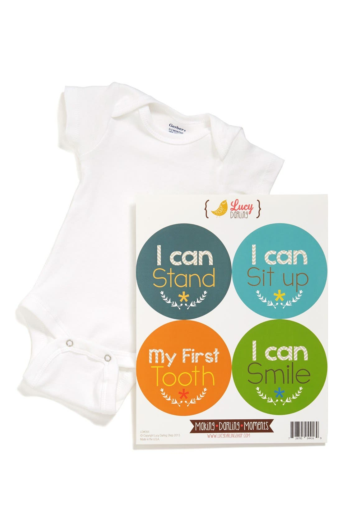 Main Image - Lucy Darling Bodysuit & Stickers (Baby Boys)