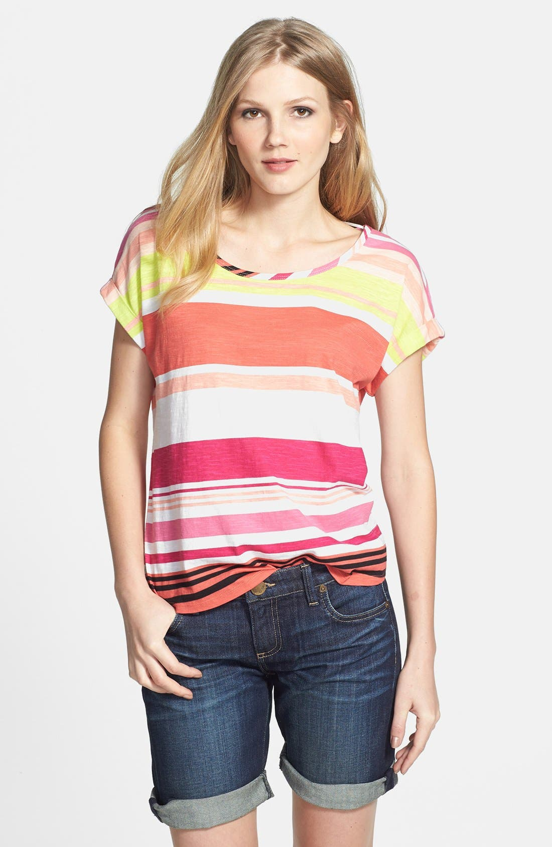Alternate Image 1 Selected - Two by Vince Camuto 'Stripe Row' Cotton Tee
