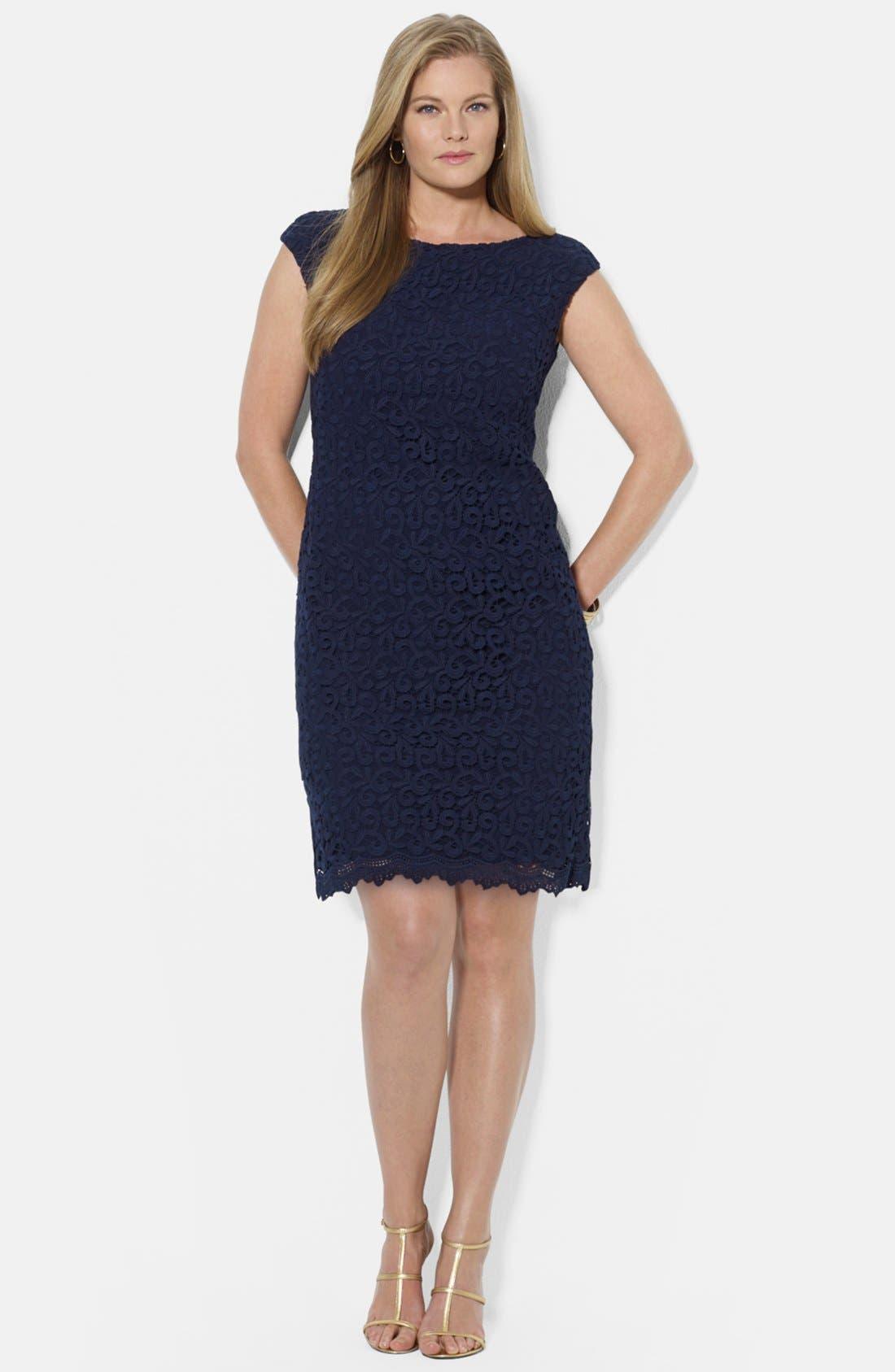 Main Image - Lauren Ralph Lauren Boatneck Lace Sheath Dress (Plus Size)