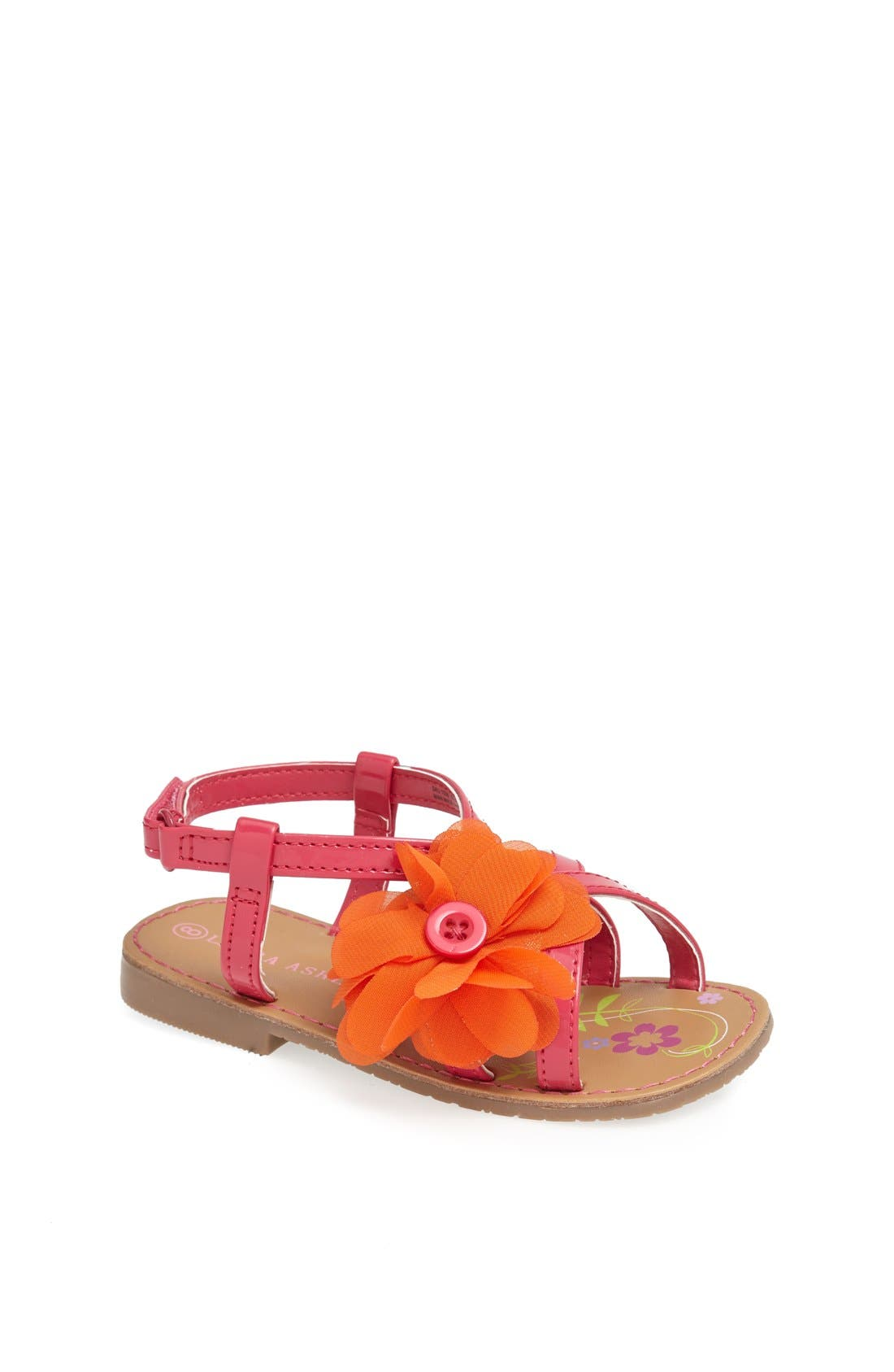 Alternate Image 1 Selected - Laura Ashley Chiffon Flower Sandal (Walker & Toddler)