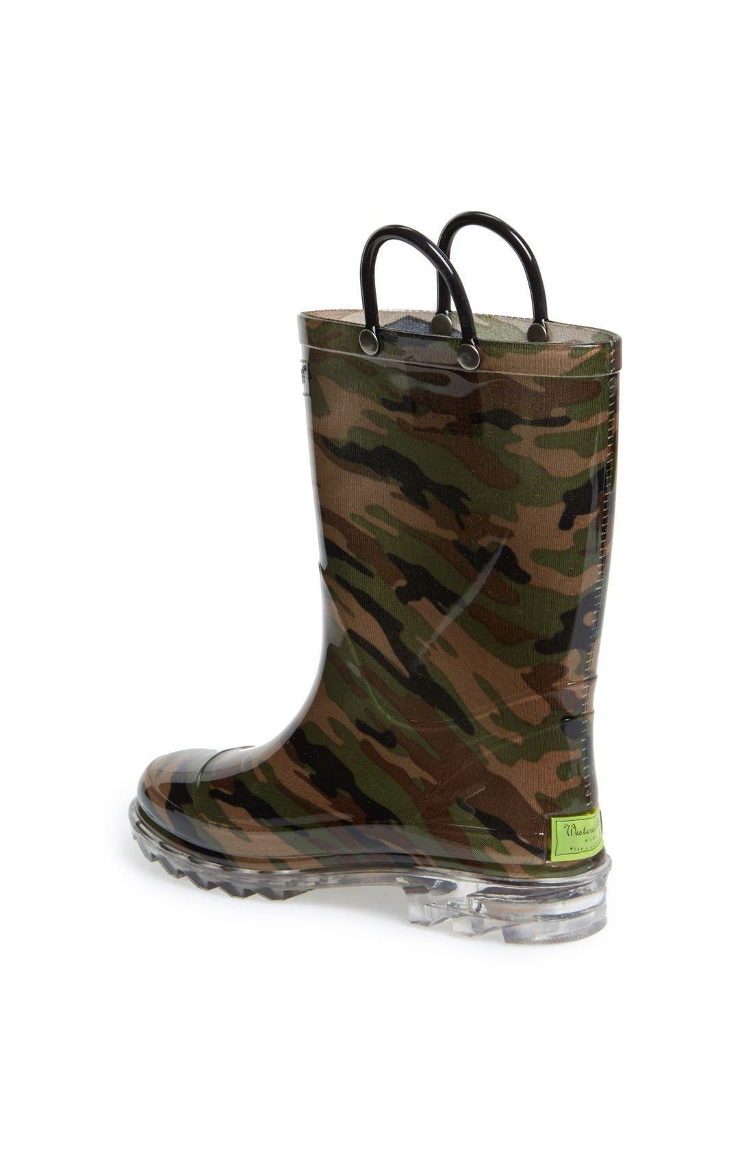 'Camo' Light-Up Rain Boot,                             Alternate thumbnail 2, color,                             Green