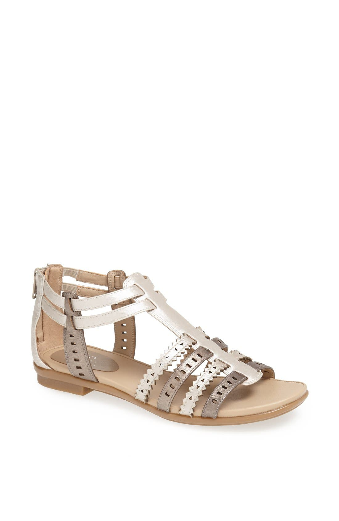 Alternate Image 1 Selected - Easy Spirit 'e360 - Karelly' Pinked & Perforated Leather Back Zip Sandal (Women)