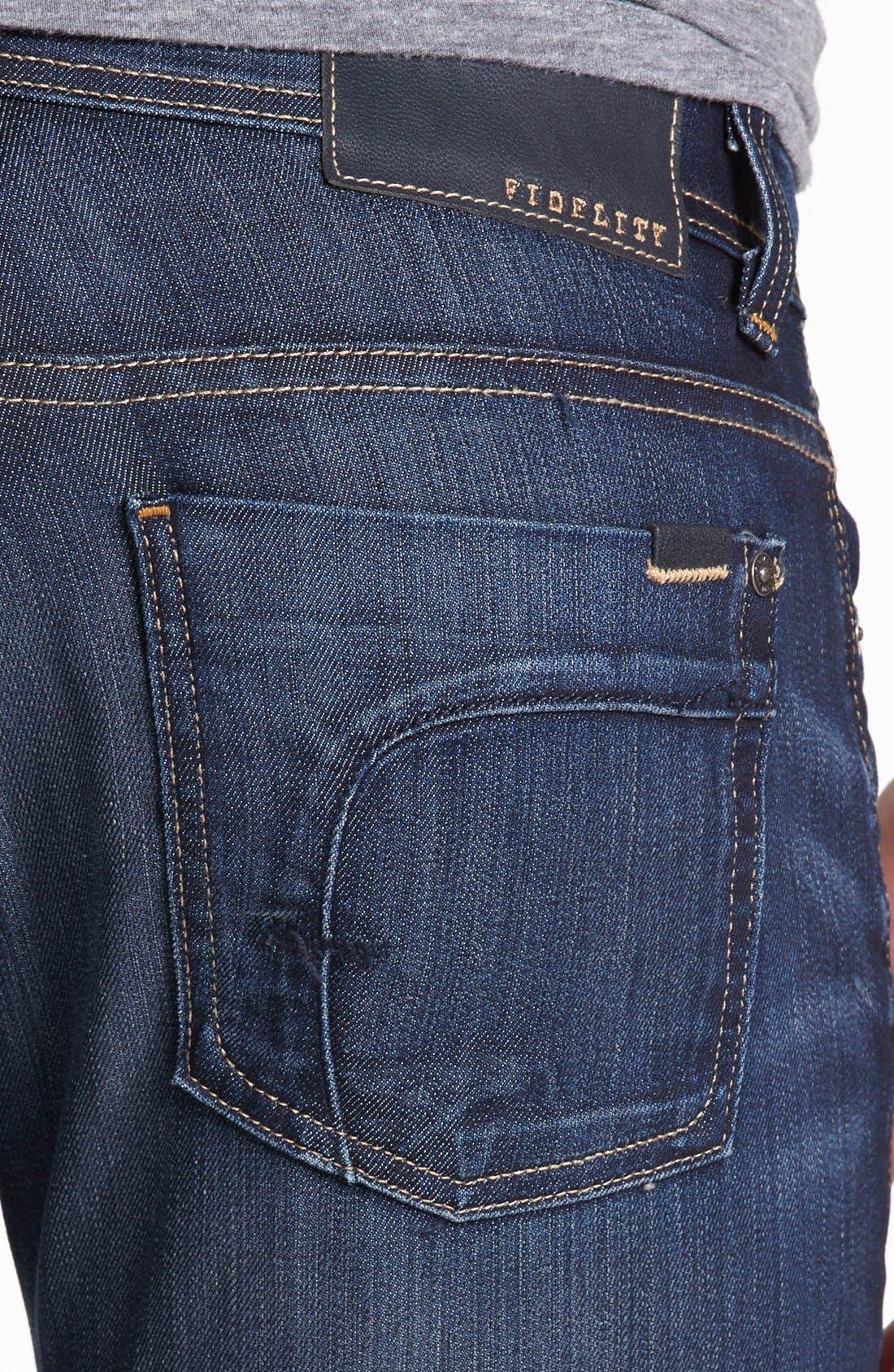 Alternate Image 4  - Fidelity Denim 'Slim Jim' Slim Fit Jeans (Trigger Dark) (Tall)