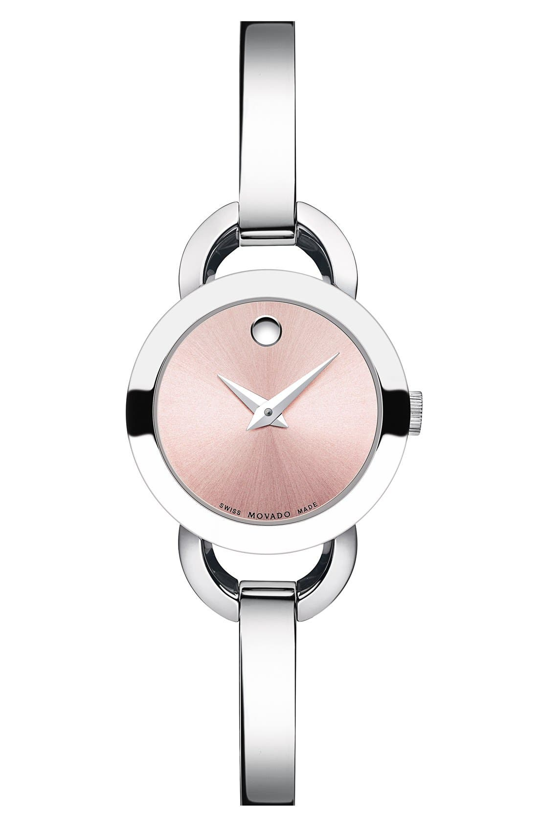 'Rondiro' Small Round Bangle Watch, 22mm,                         Main,                         color, Silver/ Pink