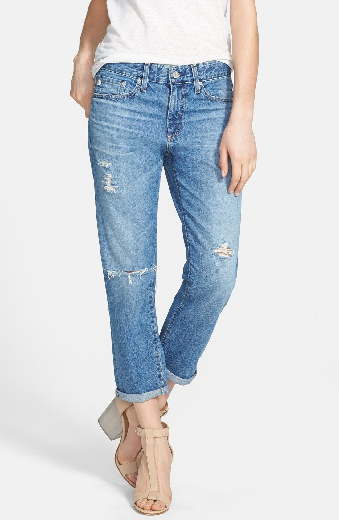 Main Image - AG 'Drew' Destroyed Boyfriend Jeans (14 Year Tailspin)