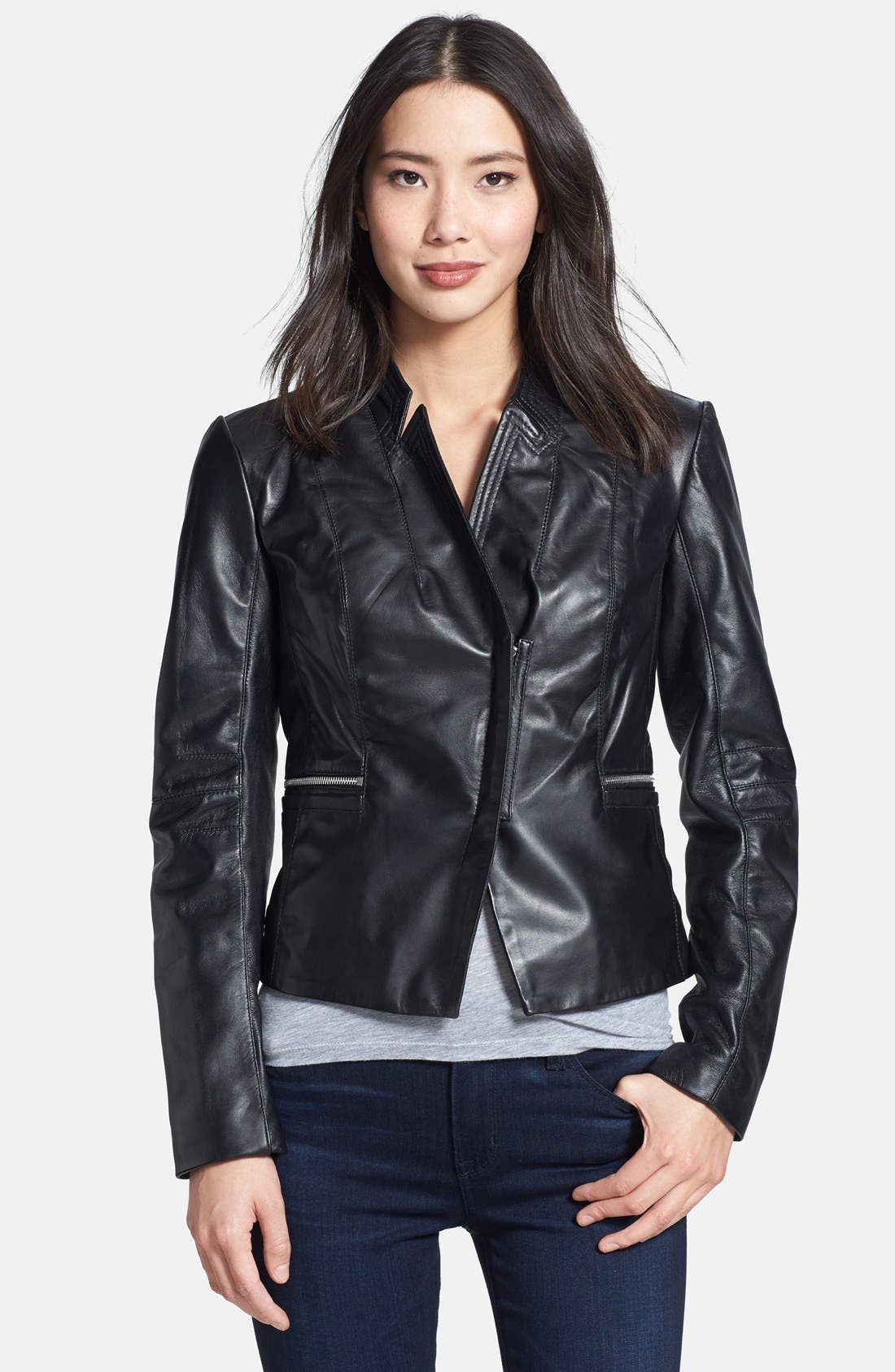 Alternate Image 1 Selected - Laundry by Shelli Segal Peplum Back Cutaway Leather Jacket