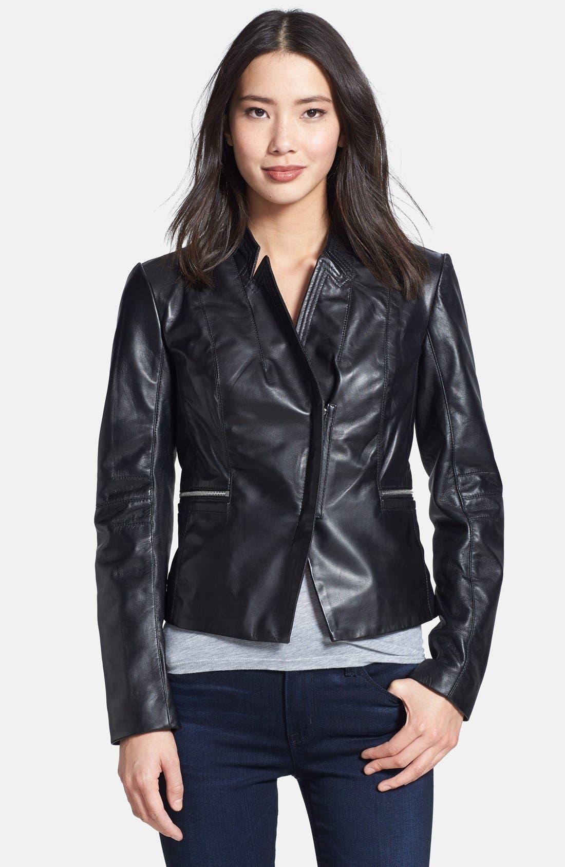 Main Image - Laundry by Shelli Segal Peplum Back Cutaway Leather Jacket