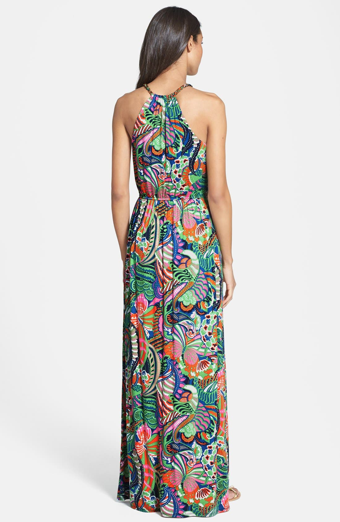 Alternate Image 2  - Laundry by Shelli Segal Front Keyhole Print Maxi Dress