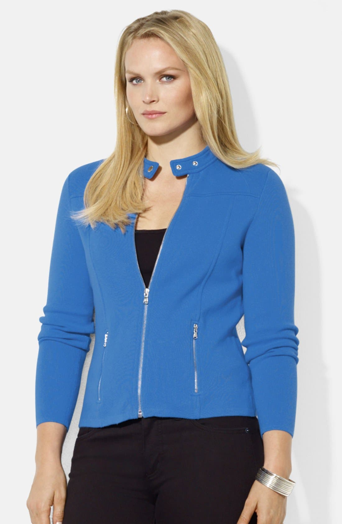 Main Image - Lauren Ralph Lauren Fitted Knit Moto Cardigan (Plus Size)