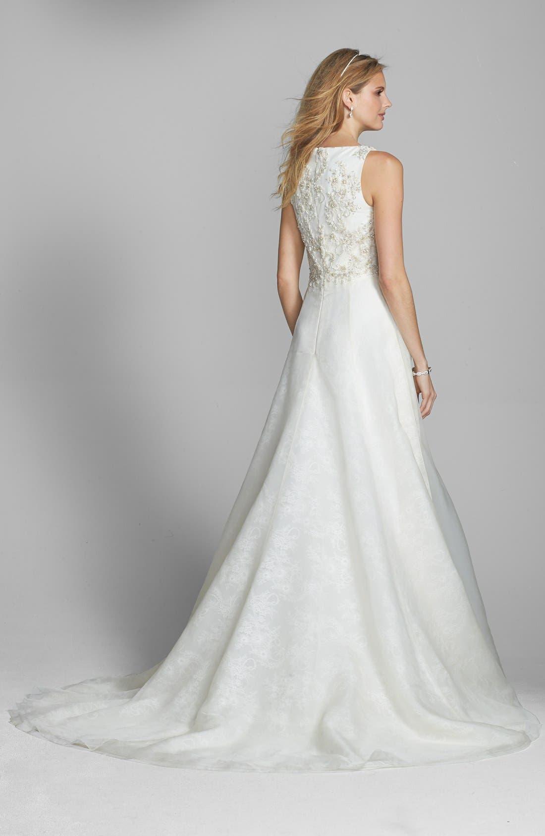 Alternate Image 2  - Badgley Mischka Bridal 'Lana' Embellished Silk Organza Dress (In Stores Only)
