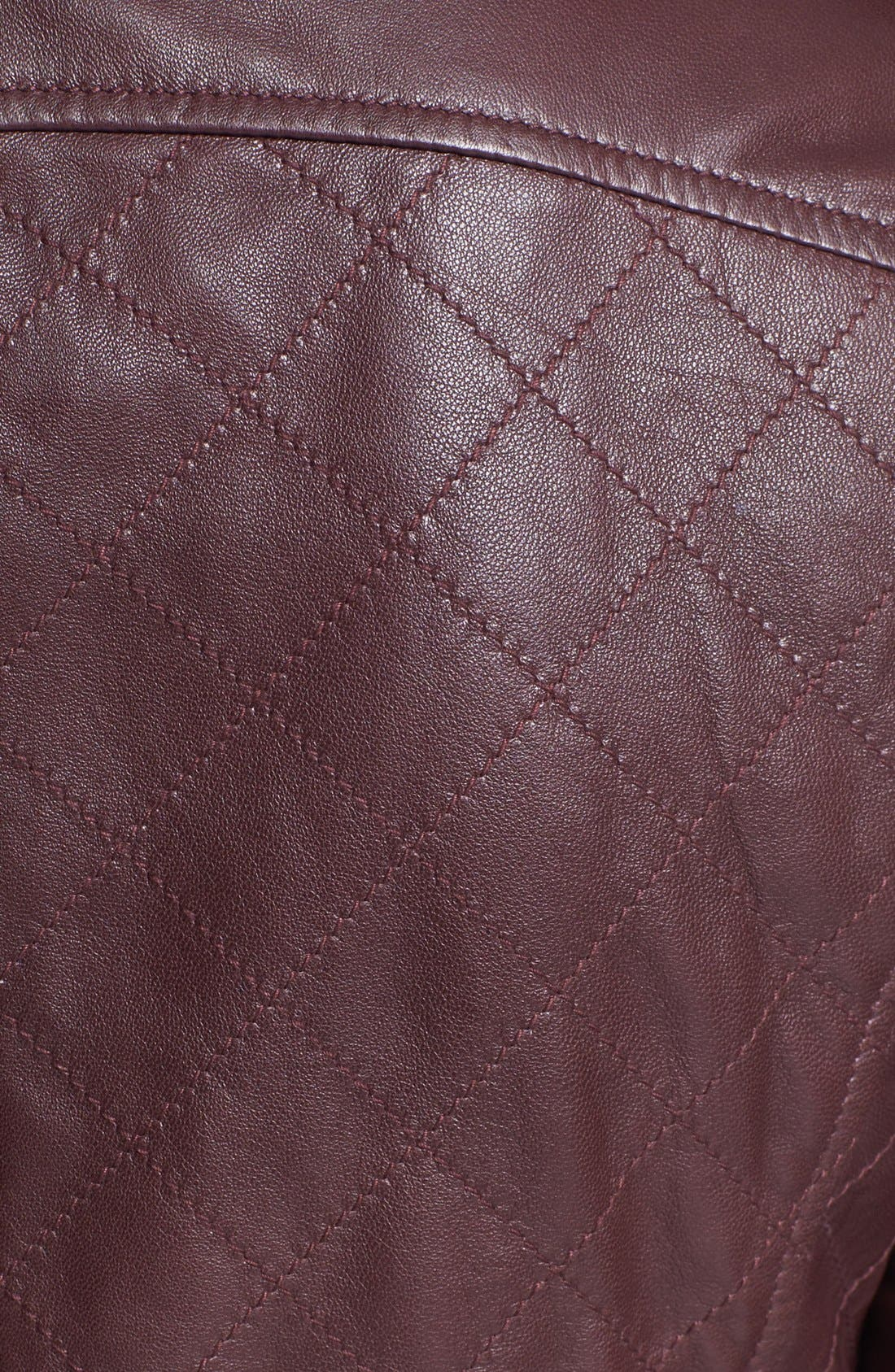 Alternate Image 2  - Bernardo Quilted Collarless Leather Jacket (Petite) (Nordstrom Exclusive)