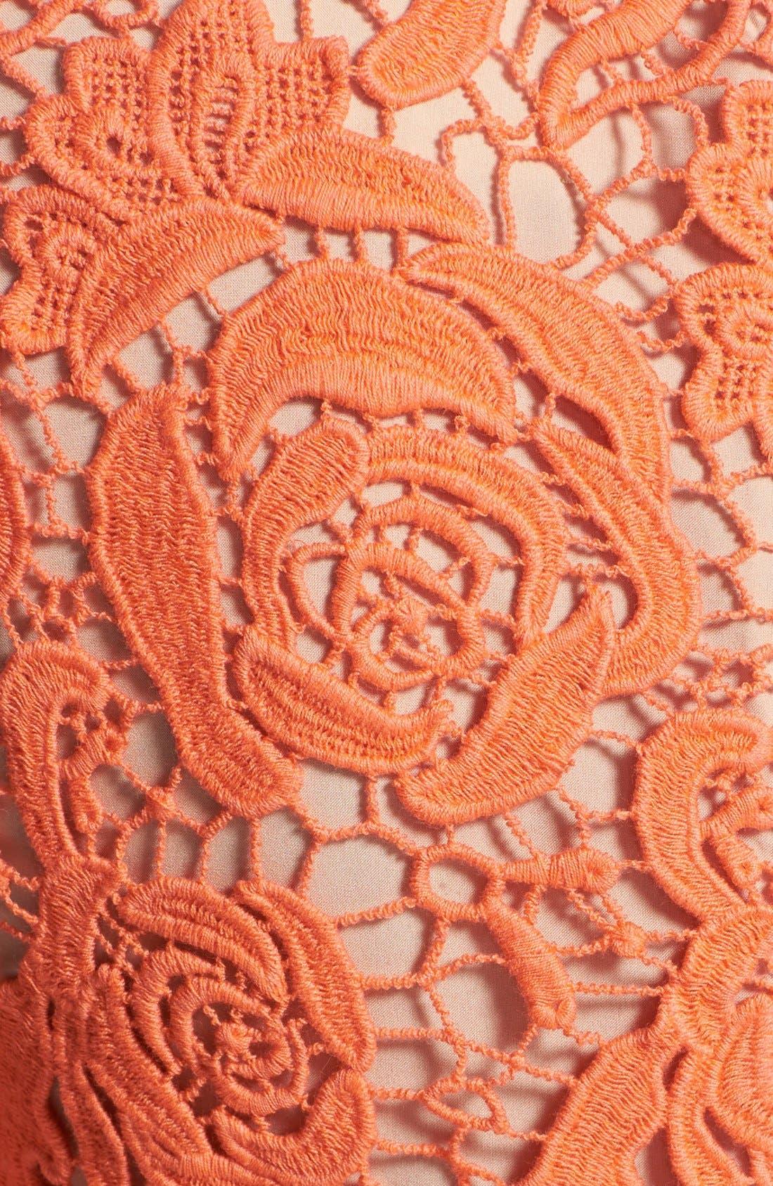 Alternate Image 4  - Nicole Miller Neon Venetian Lace Sheath Dress
