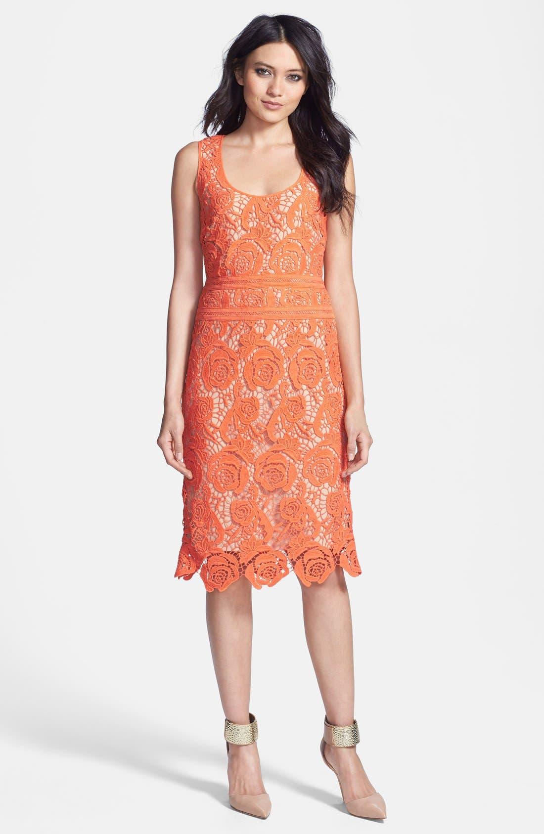 Alternate Image 3  - Nicole Miller Neon Venetian Lace Sheath Dress