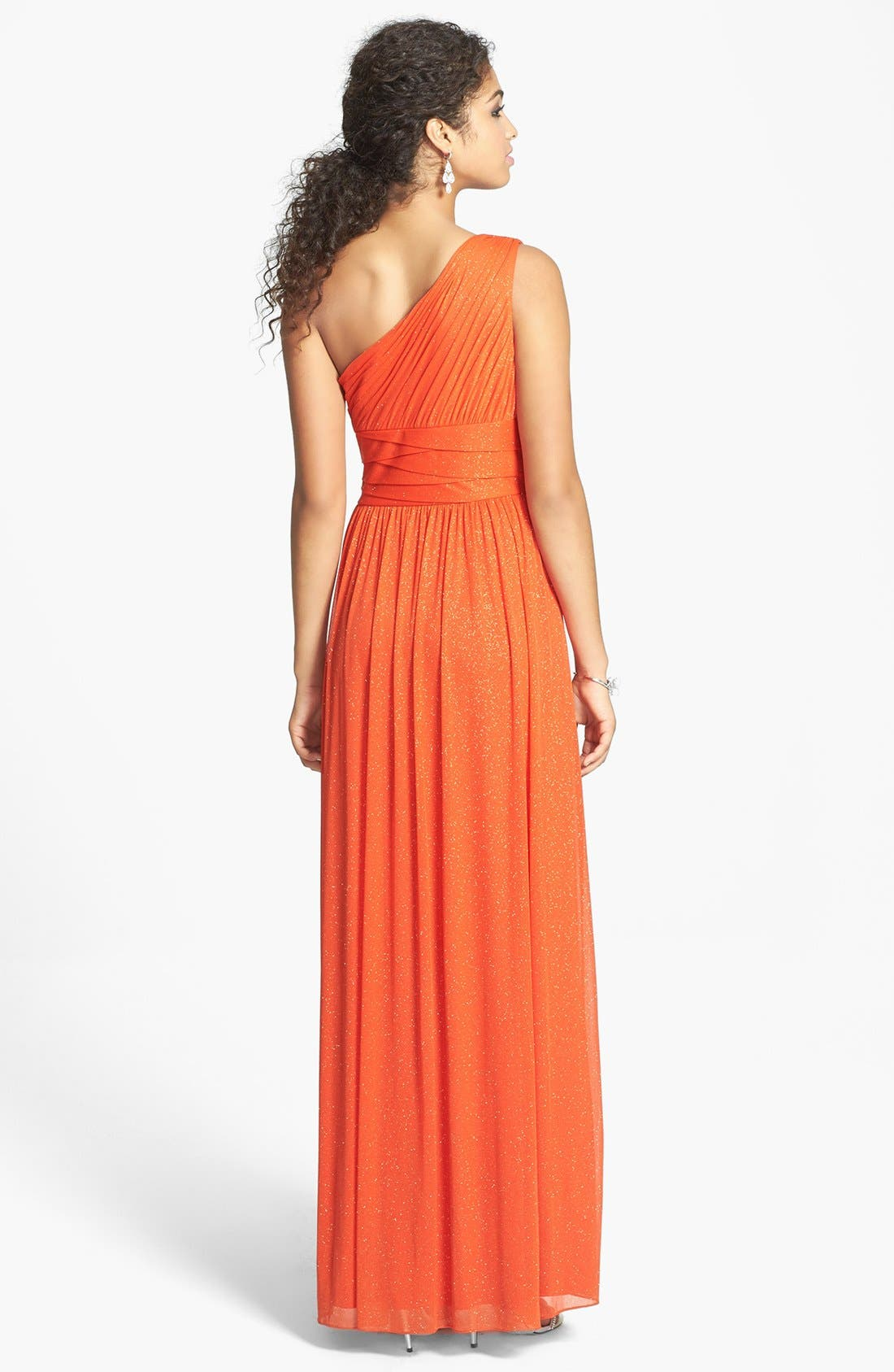 Alternate Image 2  - Hailey by Adrianna Papell One-Shoulder Glitter Knit Gown