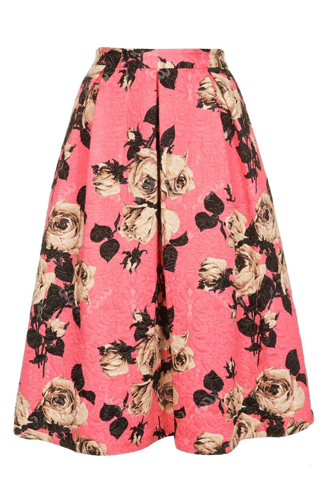 Alternate Image 3  - Topshop Textured Rose Print Midi Skirt