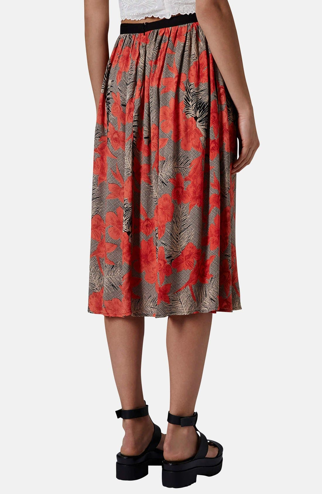 Floral Split Midi Skirt,                             Alternate thumbnail 2, color,                             Tan Multi