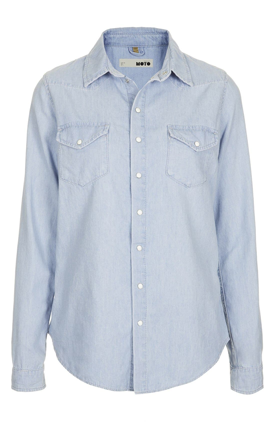 Alternate Image 3  - Topshop Chambray Western Shirt
