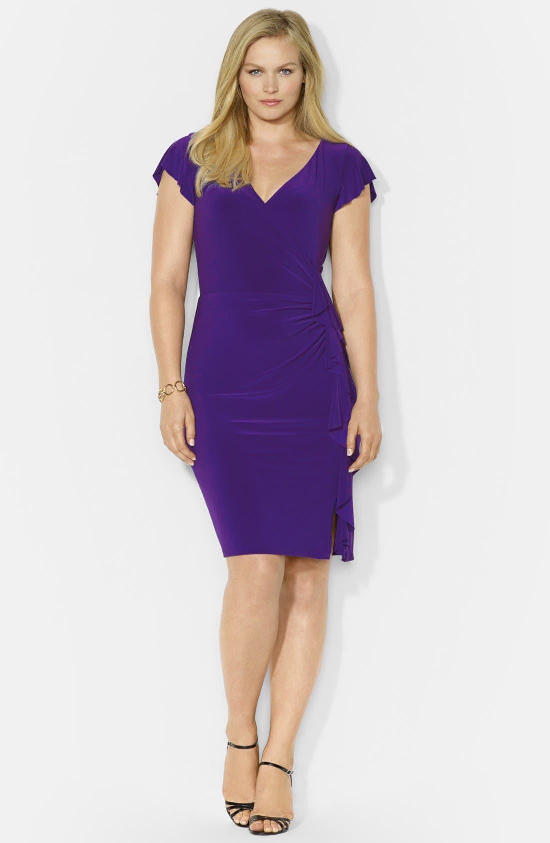 Main Image - Lauren Ralph Lauren Flutter Sleeve Dress (Plus Size)