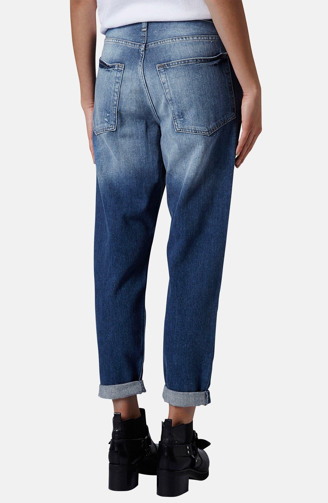 Alternate Image 2  - Topshop Moto 'Hayden' Destroyed Boyfriend Jeans (Mid Denim)